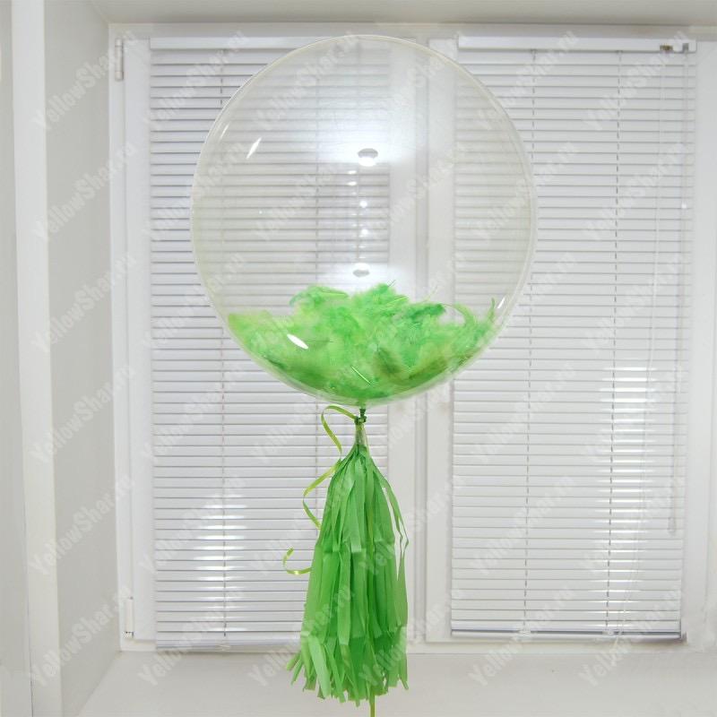Прозрачный шар Bubble с зелеными перьями 61 см.