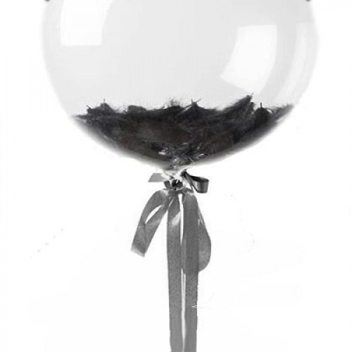 Прозрачный шар Bubble с черными перьями 61 см.