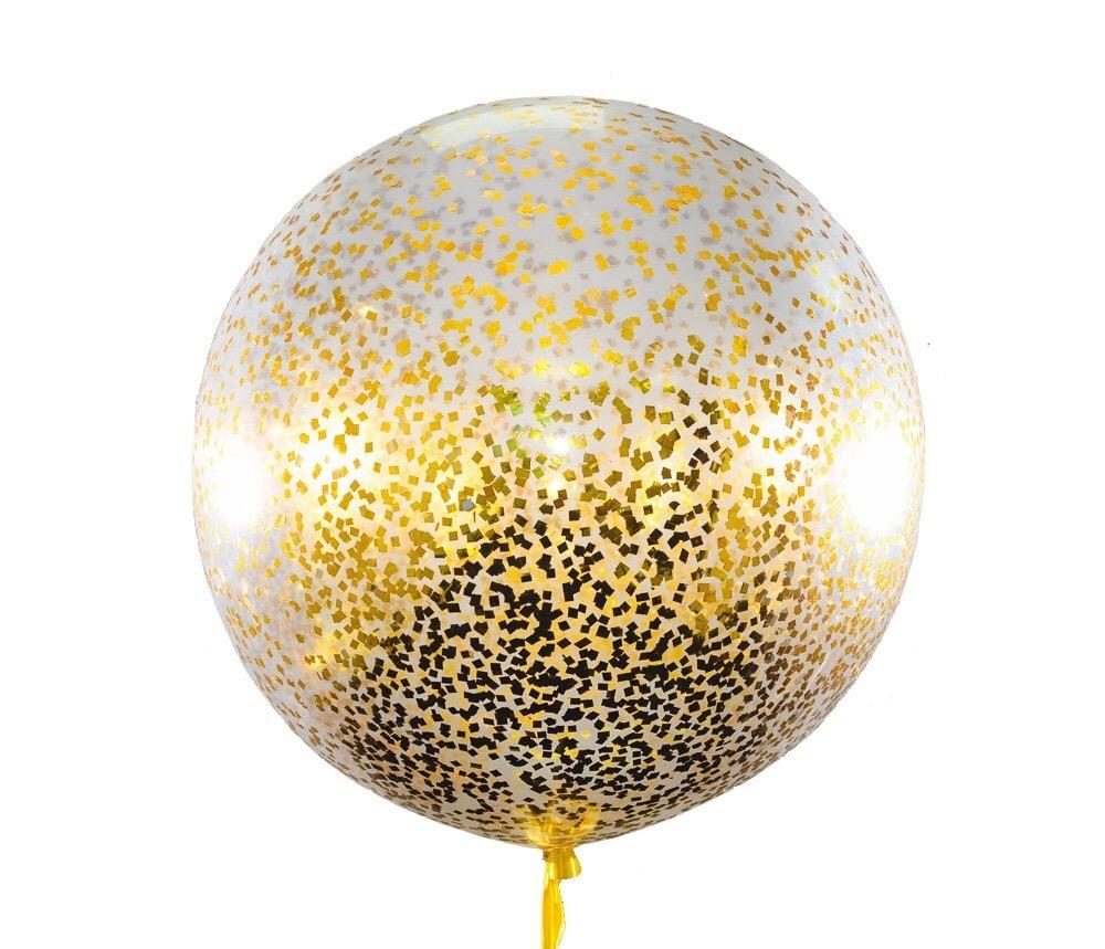 Прозрачный шар с золотым конфетти 91 см.