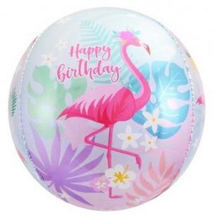 Сфера 3D, С Днем Рождения (фламинго) 61 см.