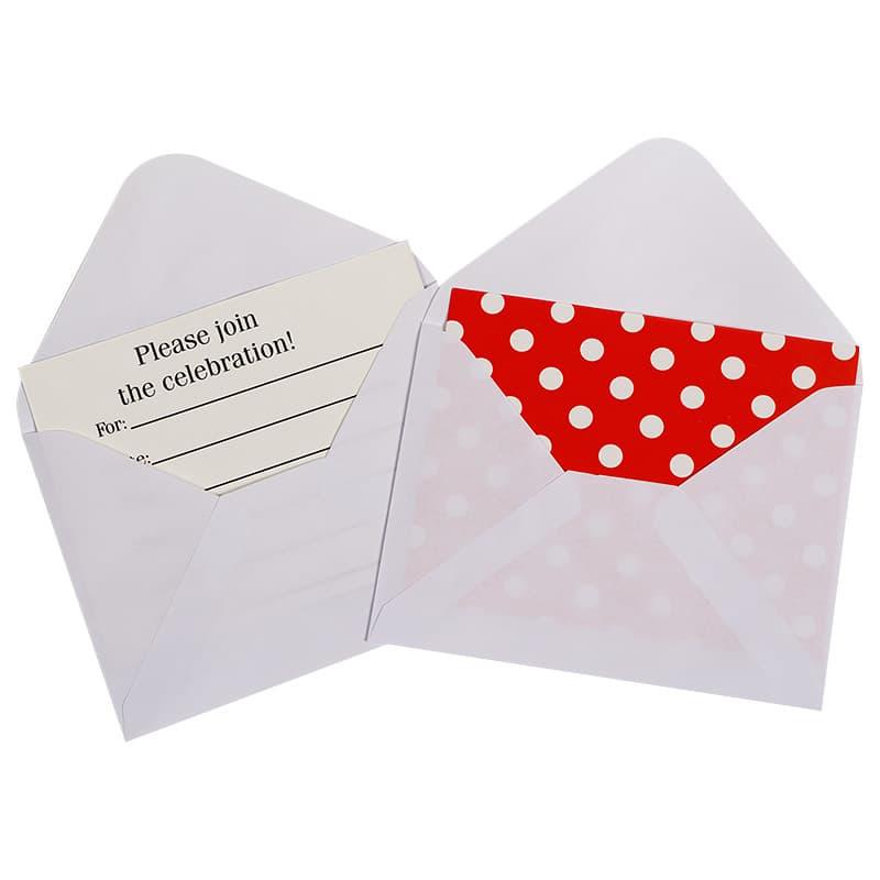 Открытка пригласительная Белые точки Красный с конвертом