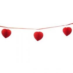Бумажная гирлянда красная с подвесками Сердца 9х6см 2м