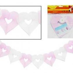 Бумажная гирлянда бело-розовая Сердечки 18х17см 4м