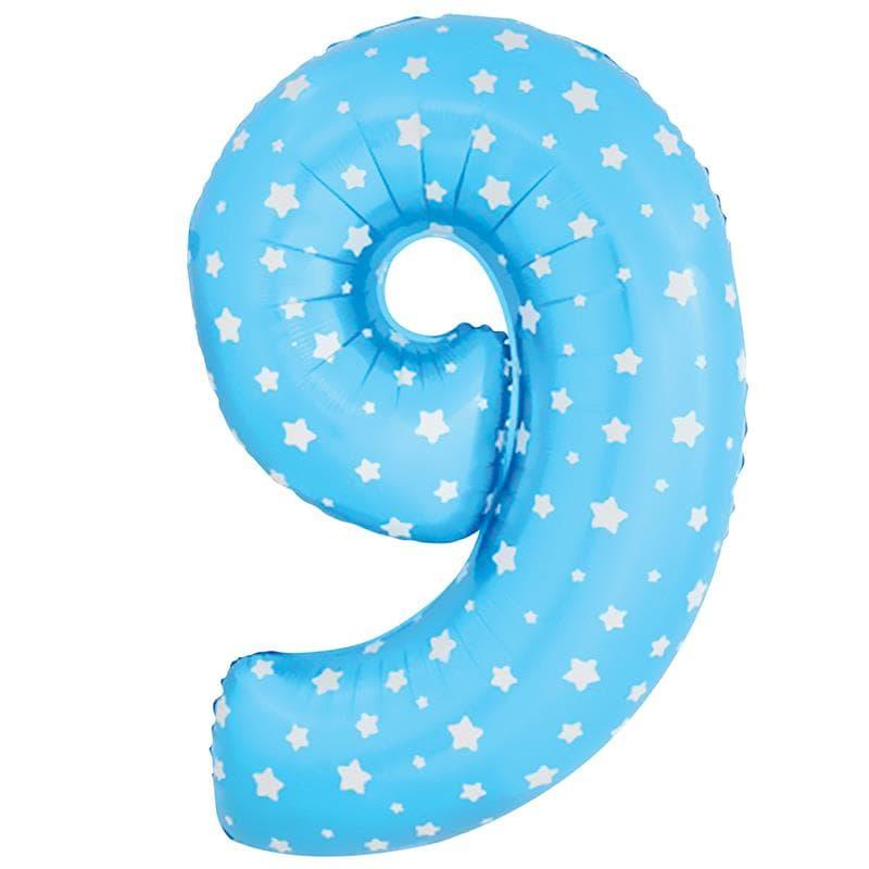 """Шар Цифра """"9"""" Синий со звездами 102 см."""