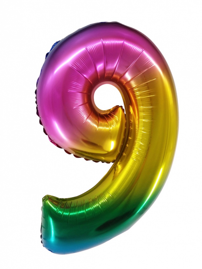 """Шар Цифра """"9"""" Радужный градиент 86 см."""