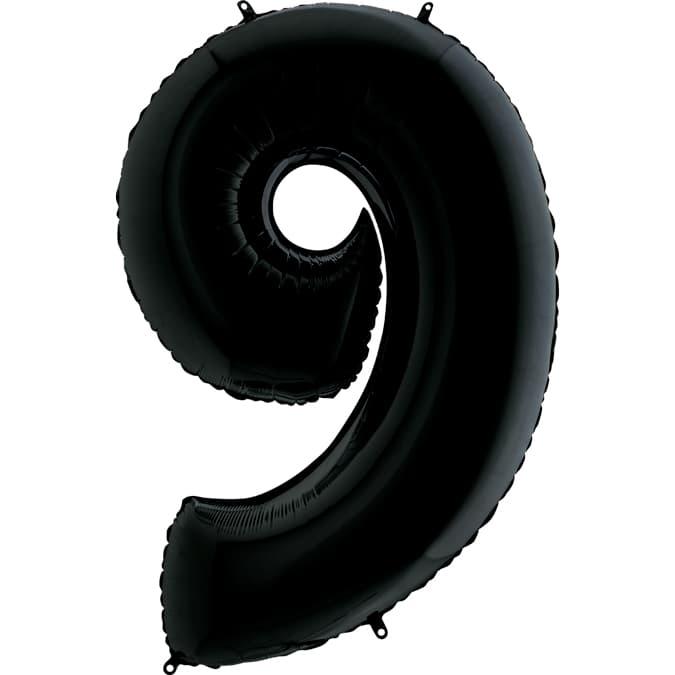 "Шар Цифра ""9"" Черная 102 см."