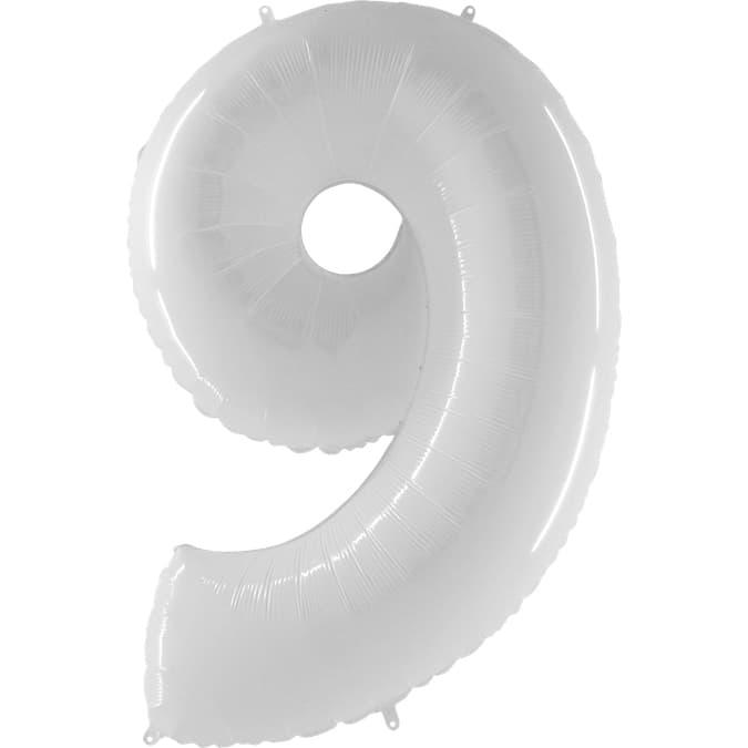 """Шар Цифра """"9"""" Белый 102 см."""