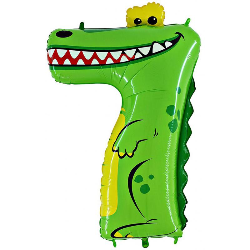 "Шар Цифра ""7"" Крокодил 102 см."