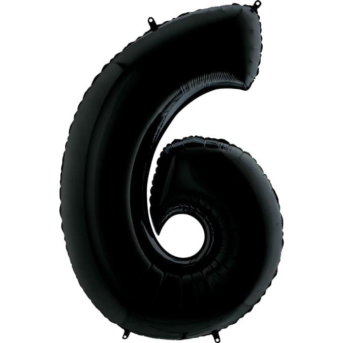 "Шар Цифра ""6"" Черная 102 см."