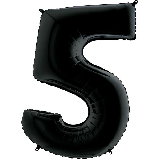 "Шар Цифра ""5"" Черная 102 см."