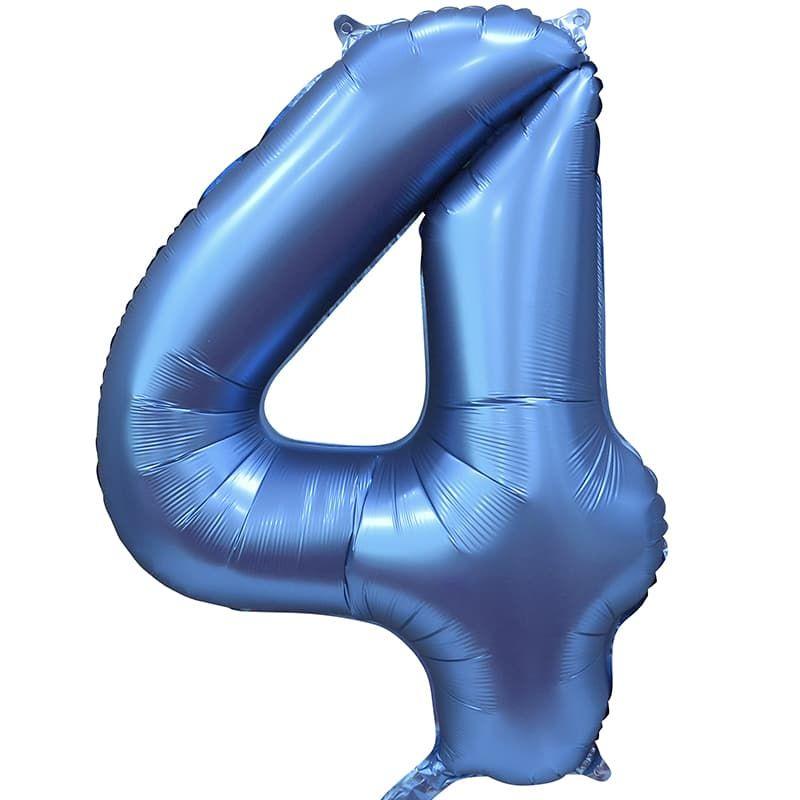 "Шар Цифра ""4"" Синий Сатин 86 см."