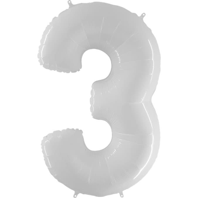 """Шар Цифра """"3"""" Белый 102 см."""