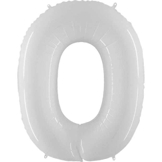 """Шар Цифра """"0"""" Белый 102 см."""