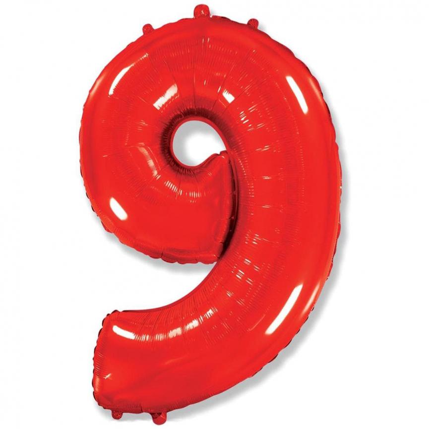 """Шар Цифра """"9"""" Красный 102 см."""