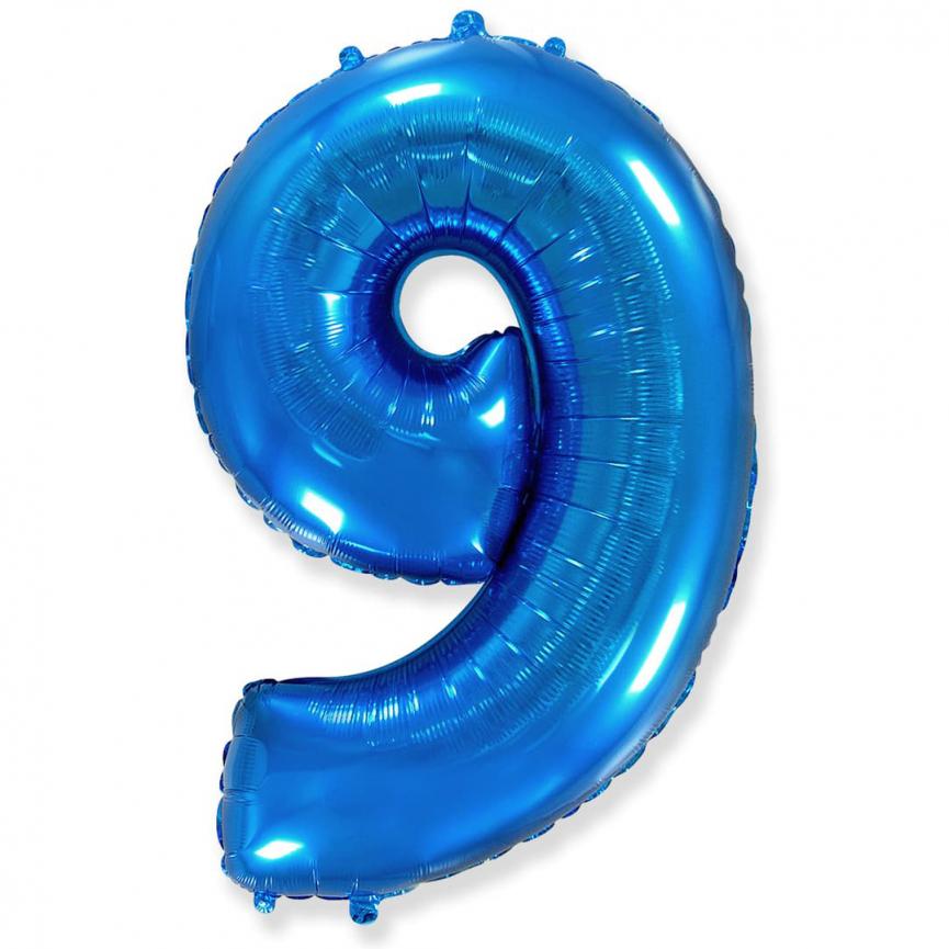 """Шар Цифра """"9"""" Синий 102 см."""