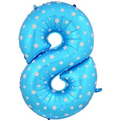 """Шар Цифра """"8"""" Синий со звездами 102 см."""