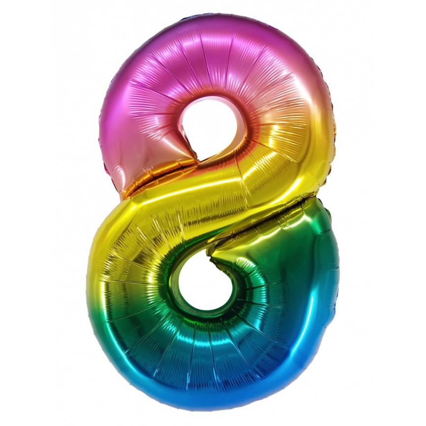 """Шар Цифра """"8"""" Радужный градиент 86 см."""