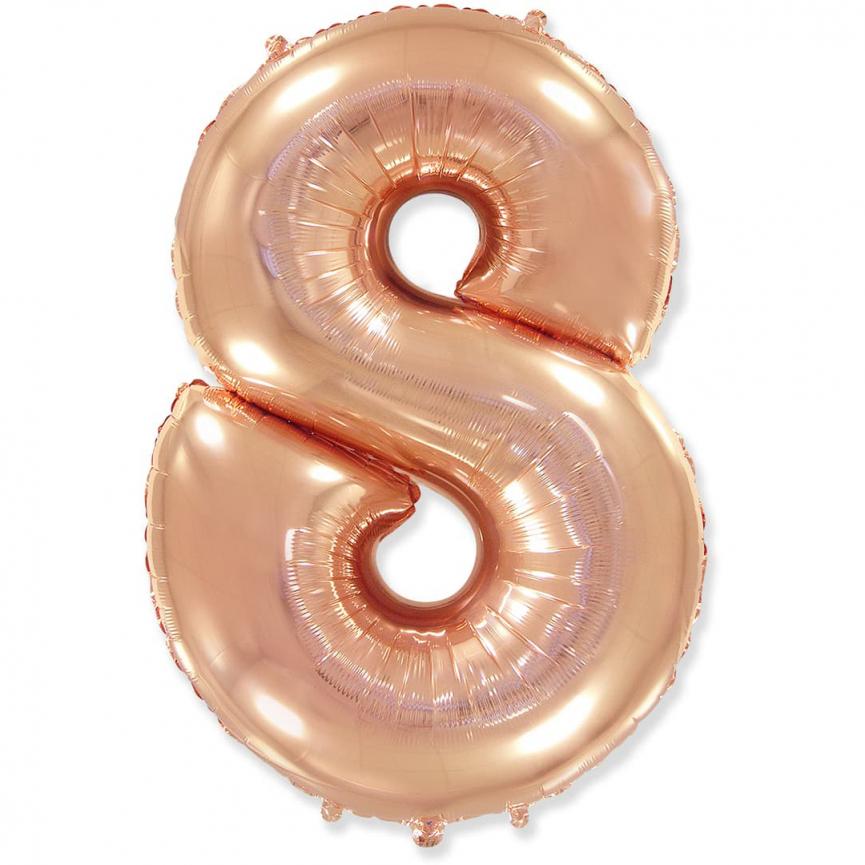 """Шар Цифра """"8"""" Розовое Золото 102 см."""