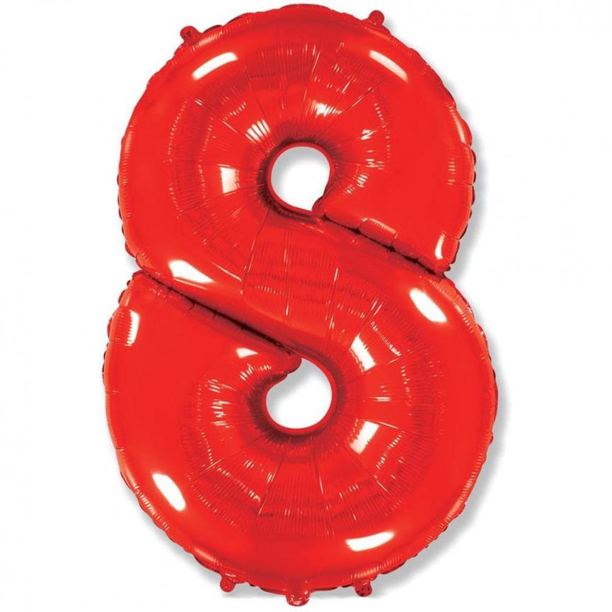 """Шар Цифра """"8"""" Красный 102 см."""