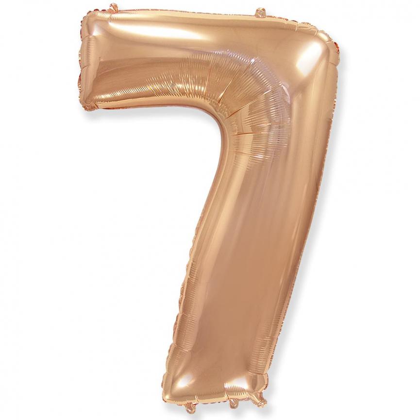 """Шар Цифра """"7"""" Розовое Золото 102 см."""