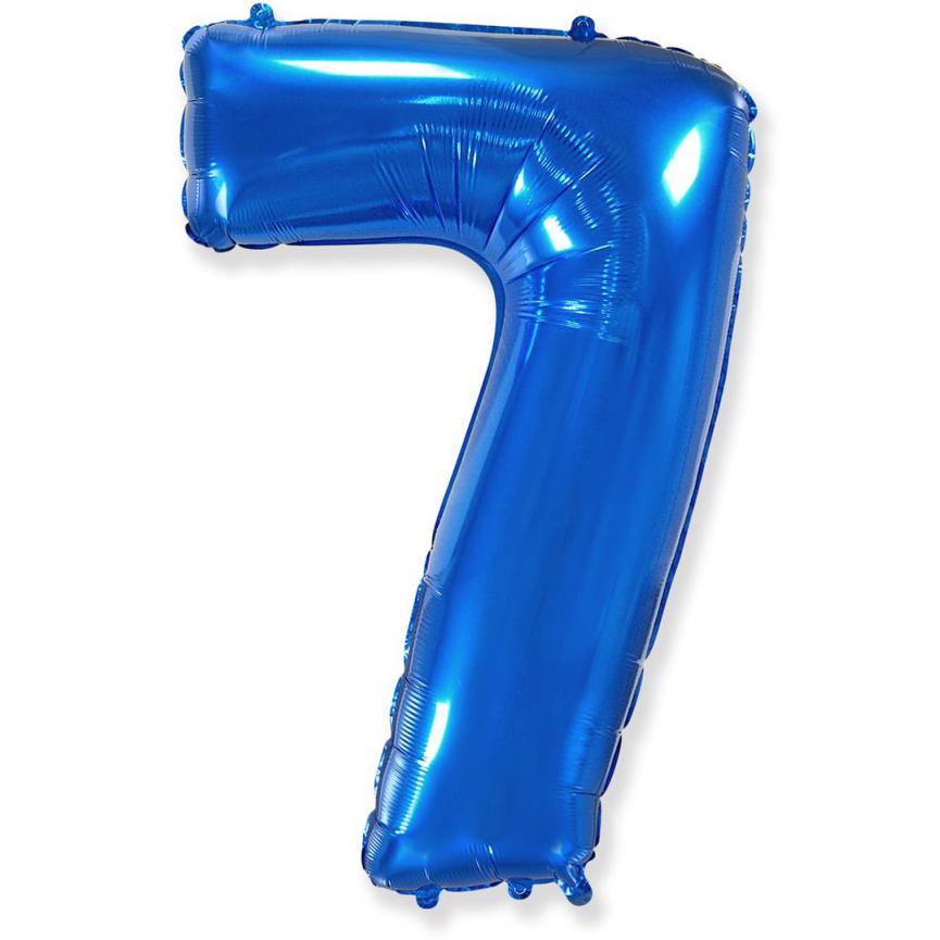 """Шар Цифра """"7"""" Синий 102 см."""