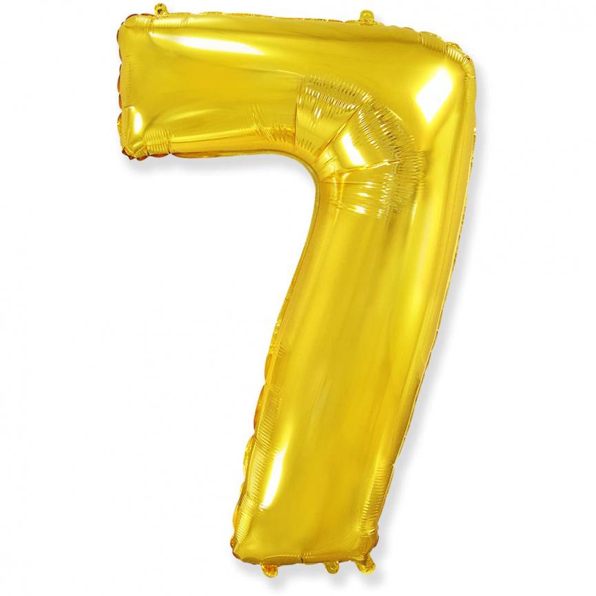 """Шар Цифра """"7"""" Золото 102 см."""