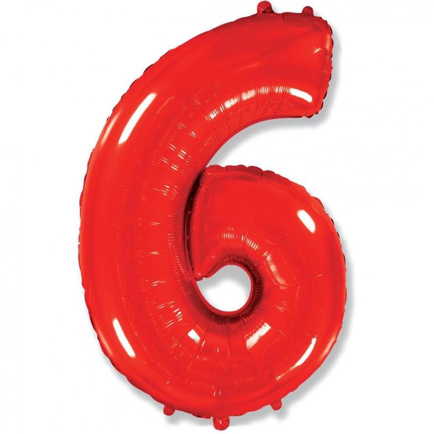 """Шар Цифра """"6"""" Красный 102 см."""