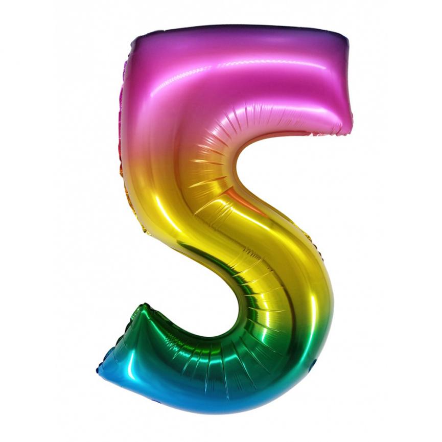 """Шар Цифра """"5"""" Радужный градиент 86 см."""