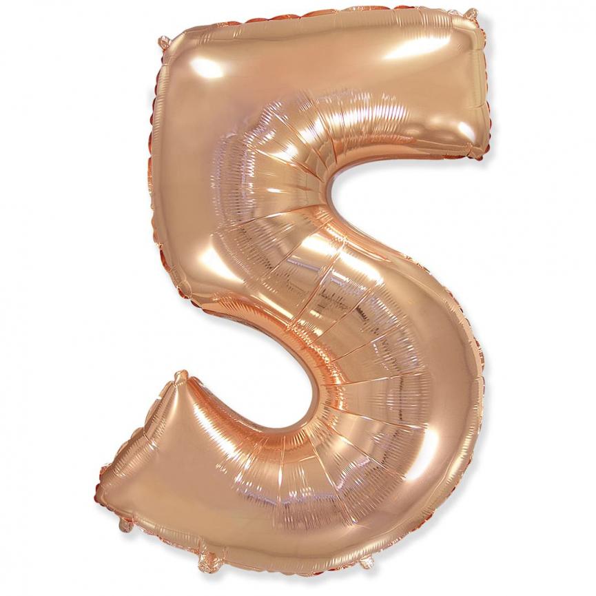 """Шар Цифра """"5"""" Розовое Золото 102 см."""