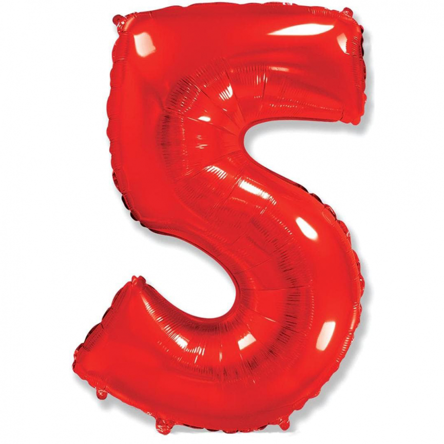 """Шар Цифра """"5"""" Красный 102 см."""