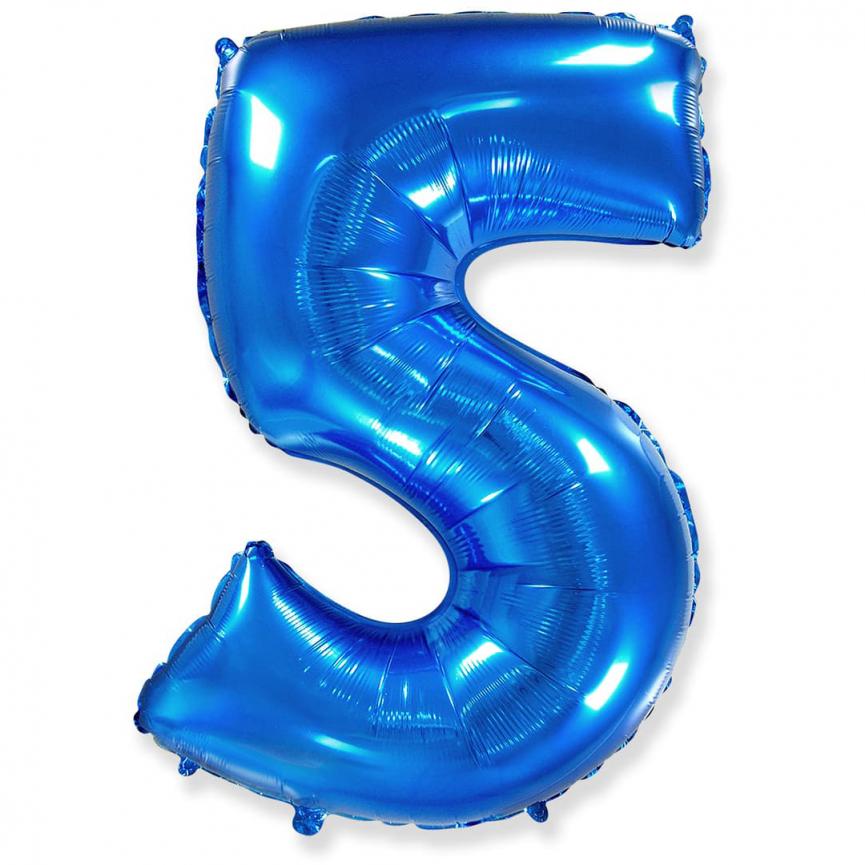 """Шар Цифра """"5"""" Синий 102 см."""