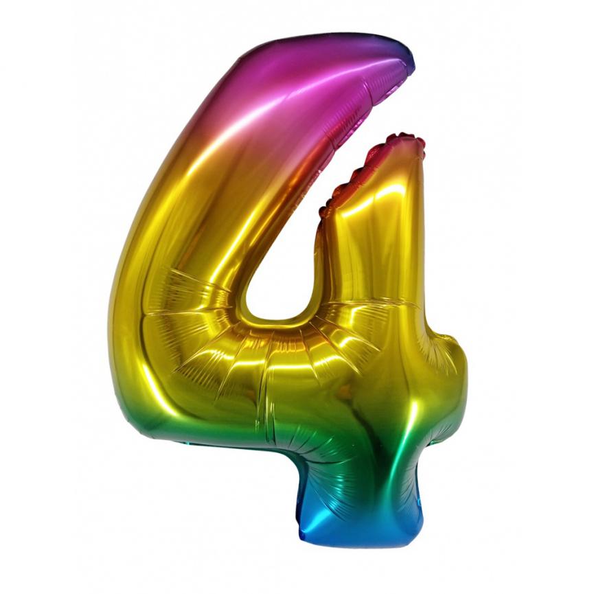 """Шар Цифра """"4"""" Радужный градиент 86 см."""