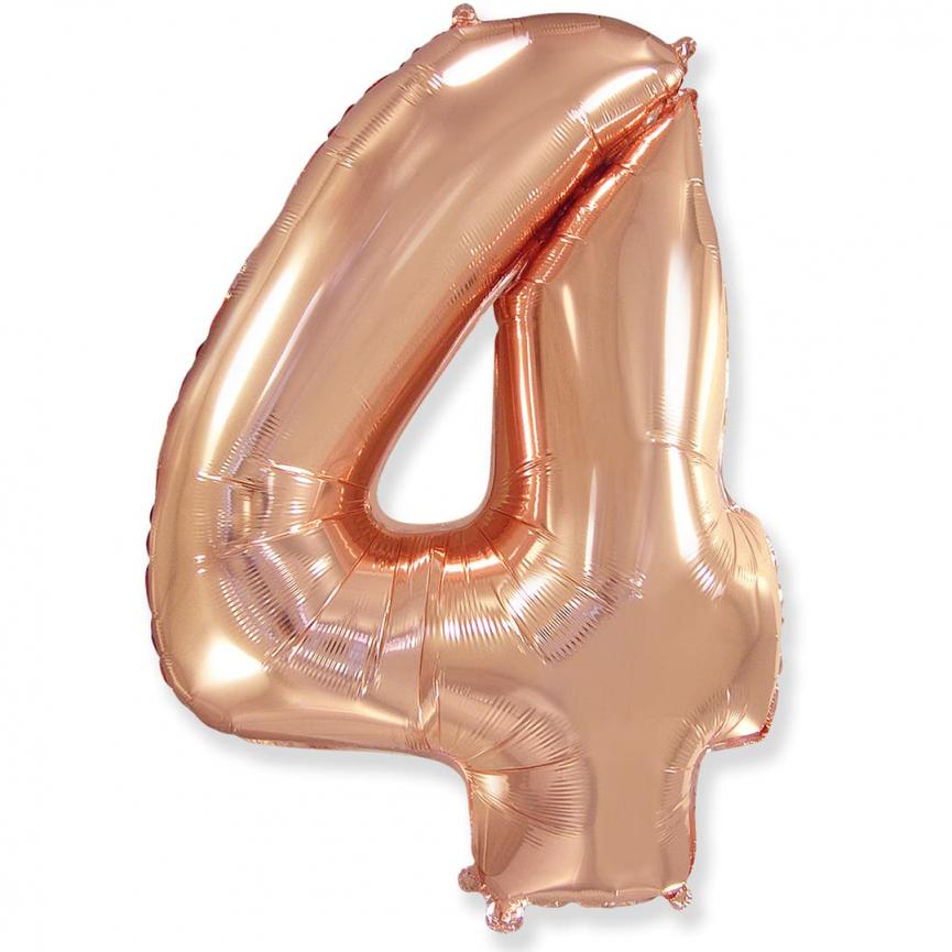 """Шар Цифра """"4"""" Розовое Золото 102 см."""