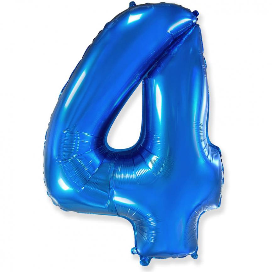 """Шар Цифра """"4"""" Синий 102 см."""