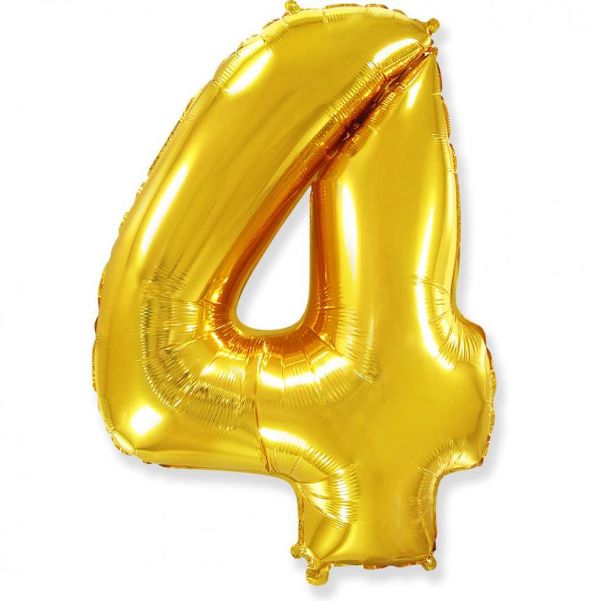 """Шар Цифра """"4"""" Золото 102 см."""