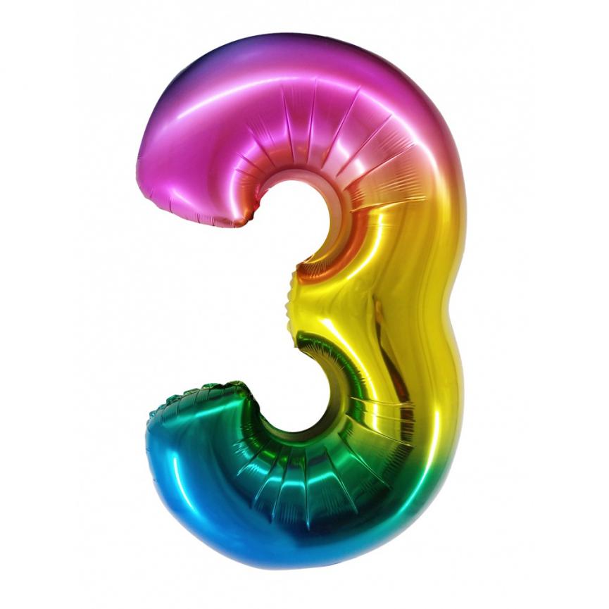 """Шар Цифра """"3"""" Радужный градиент 86 см."""