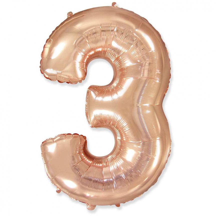 """Шар Цифра """"3"""" Розовое Золото 102 см."""