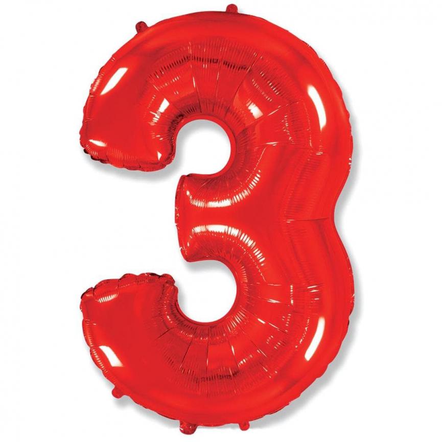 """Шар Цифра """"3"""" Красный 102 см."""