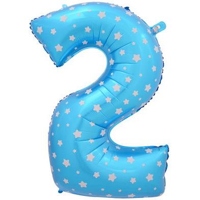 """Шар Цифра """"2"""" Синий со звездами 102 см."""