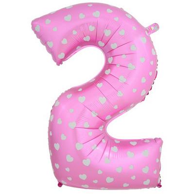 """Шар Цифра """"2"""" Розовый с сердечками 102 см."""