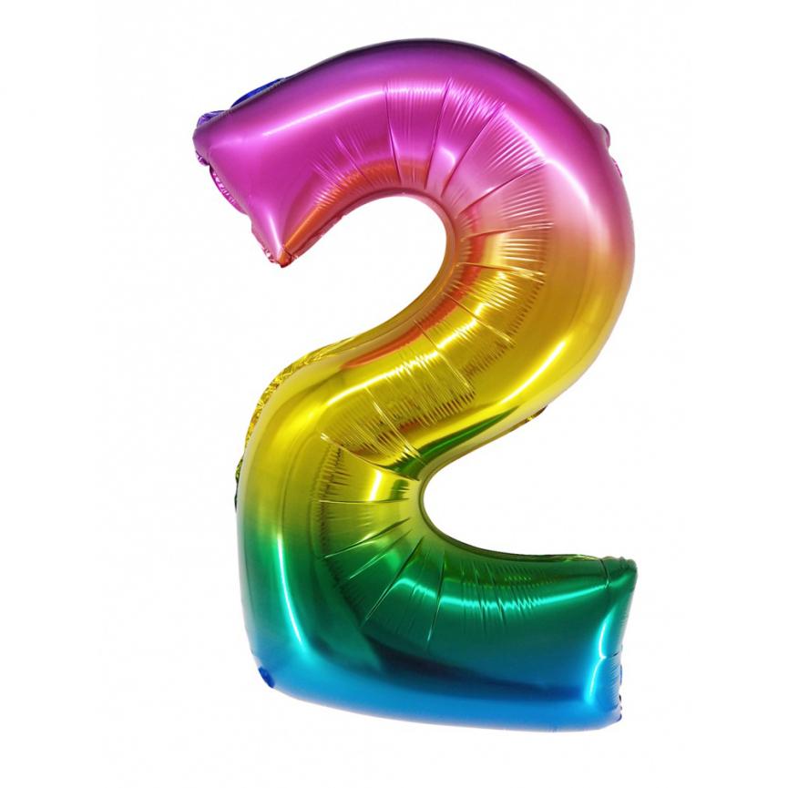 """Шар Цифра """"2"""" Радужный градиент 86 см."""