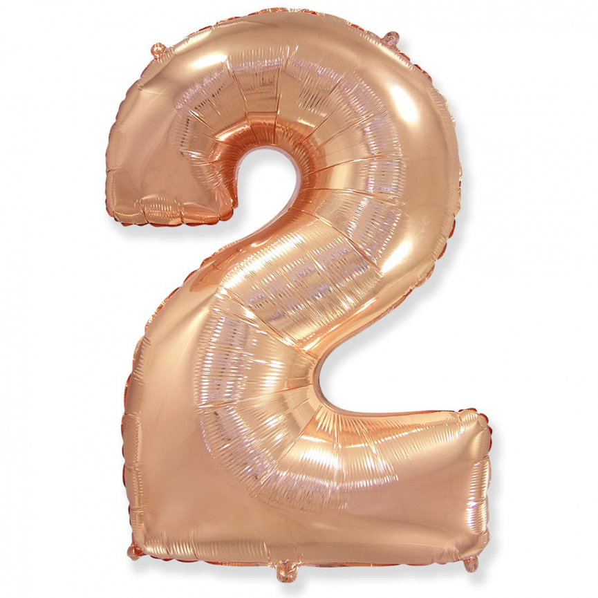 """Шар Цифра """"2"""" Розовое Золото 102 см."""