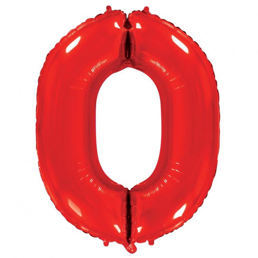 """Шар Цифра """"0"""" Красный 102 см."""