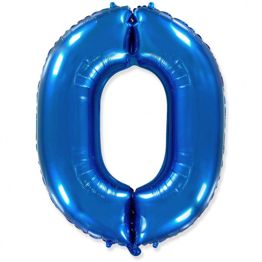 """Шар Цифра """"0"""" Синий 102 см."""