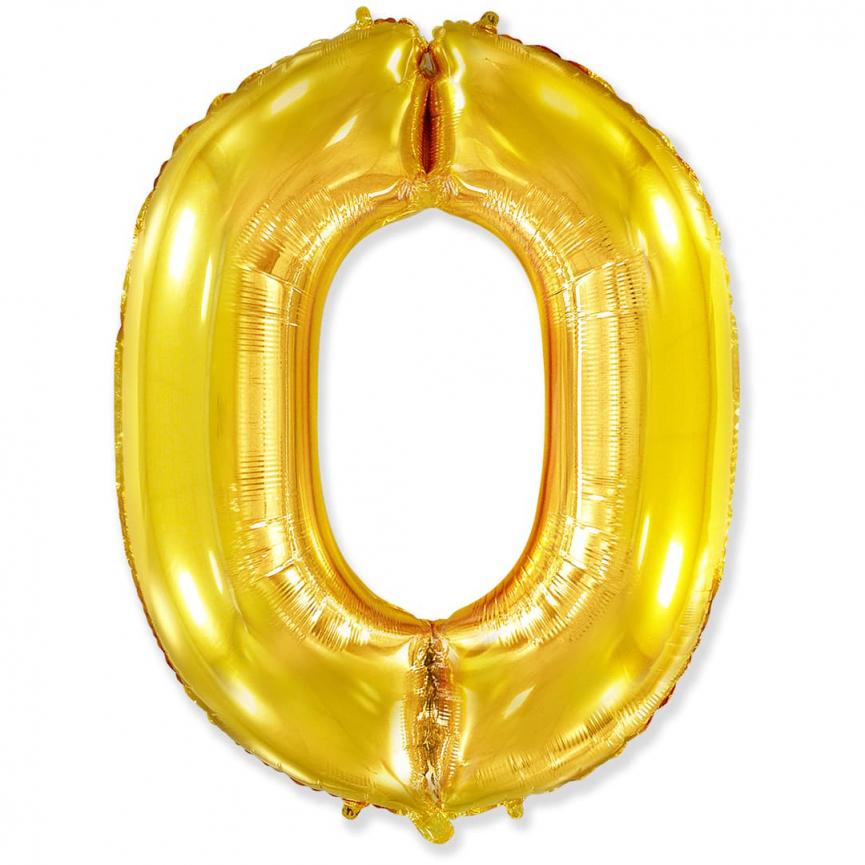 """Шар Цифра """"0"""" Золото 102 см."""