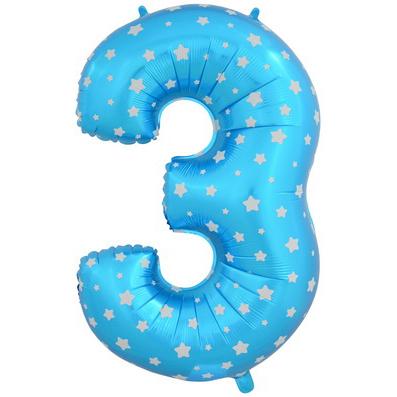 """Шар Цифра """"3"""" Синий со звездами 102 см."""