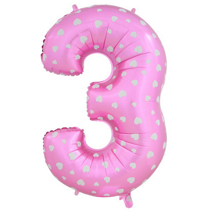 """Шар Цифра """"3"""" Розовый с сердечками 102 см."""
