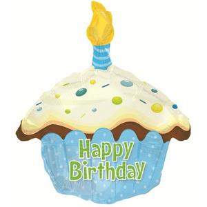 """Фигура"""" Кекс, С Днем Рождения, Голубой"""" 51 см."""