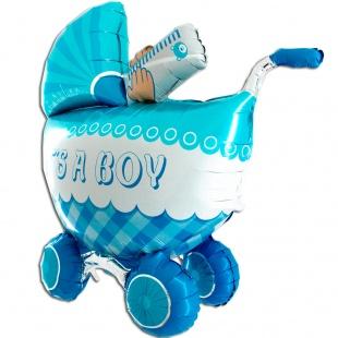 """Фигура """"Детская коляска для мальчика, 3D"""" 107 см."""