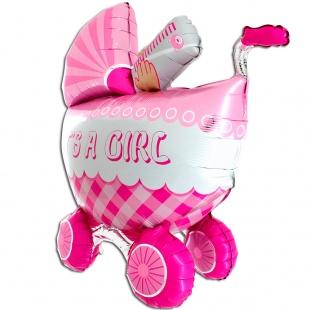 """Фигура """"Детская коляска для девочки 3D"""" 107 см."""